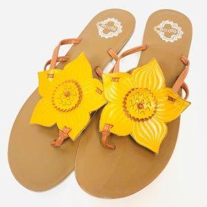 Anthro • ECOTÉ Sunflower Leather Slip-On Sandals 8